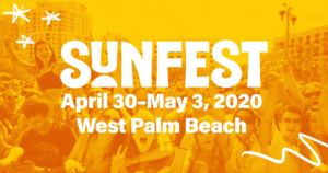 Poster for Sunfest 2020, bright yellow