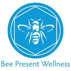 Bee Present Wellness logo, blue with a bee.